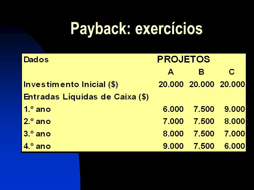 Payback: exercícios