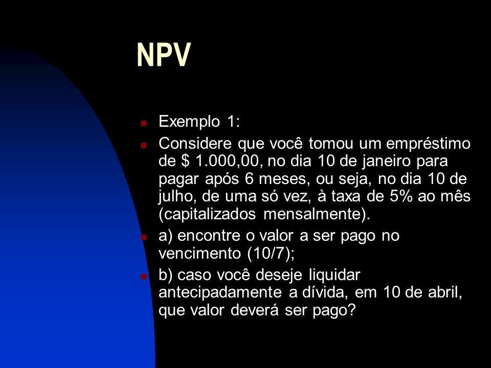 NPV Exemplo 1: