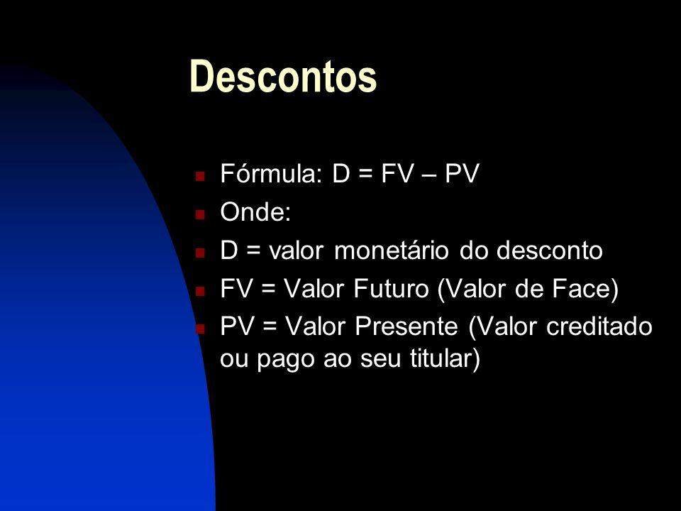 Descontos Fórmula: D = FV – PV Onde: D = valor monetário do desconto