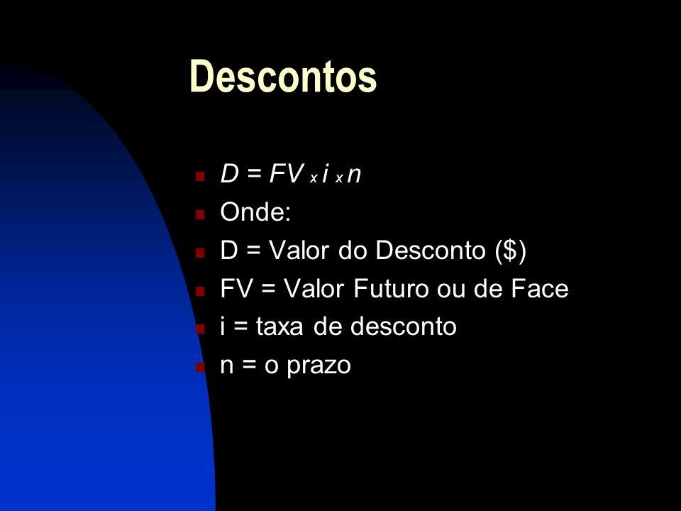 Descontos D = FV x i x n Onde: D = Valor do Desconto ($)