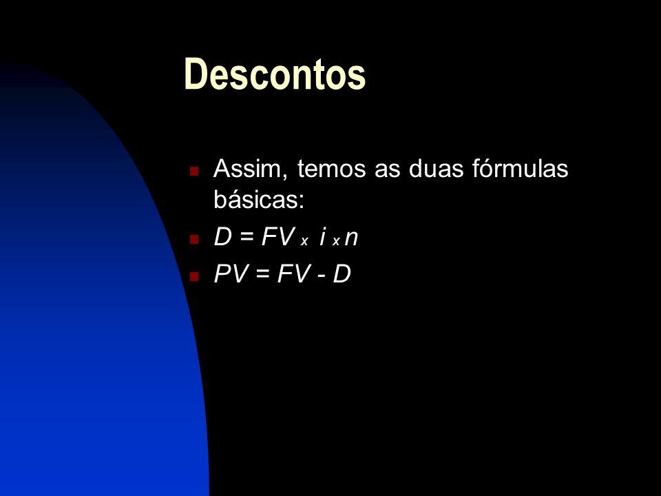 Descontos Assim, temos as duas fórmulas básicas: D = FV x i x n