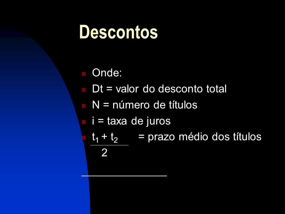 Descontos Onde: Dt = valor do desconto total N = número de títulos