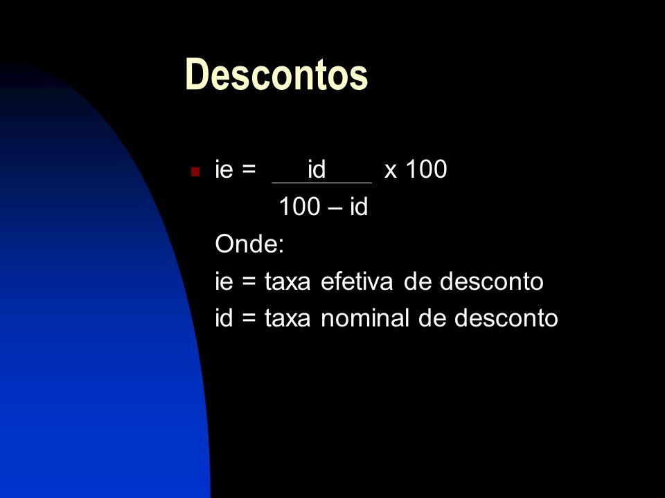 Descontos ie = id x 100 100 – id Onde: ie = taxa efetiva de desconto