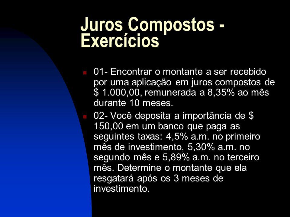 Juros Compostos - Exercícios