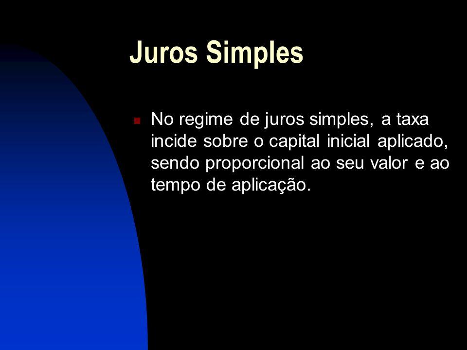 Juros Simples No regime de juros simples, a taxa incide sobre o capital inicial aplicado, sendo proporcional ao seu valor e ao tempo de aplicação.