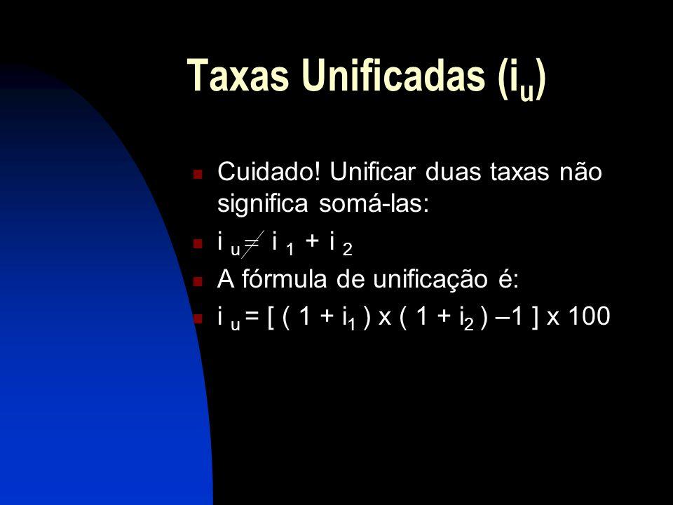 Taxas Unificadas (iu) Cuidado! Unificar duas taxas não significa somá-las: i u = i 1 + i 2. A fórmula de unificação é: