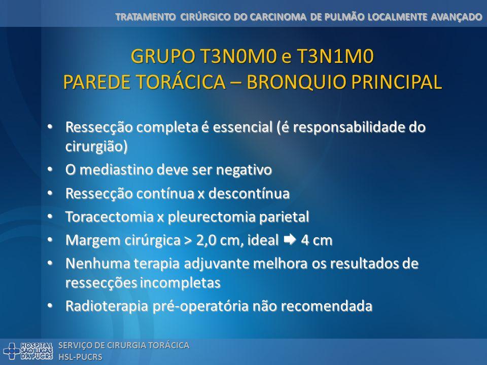 GRUPO T3N0M0 e T3N1M0 PAREDE TORÁCICA – BRONQUIO PRINCIPAL