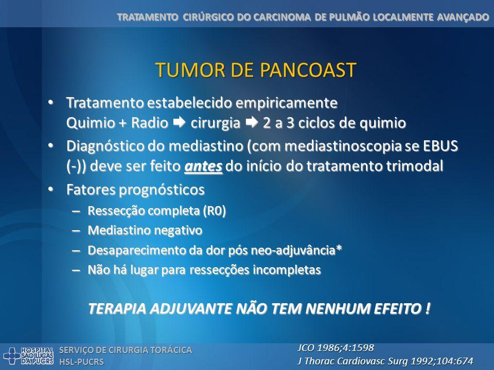 TUMOR DE PANCOAST Tratamento estabelecido empiricamente Quimio + Radio  cirurgia  2 a 3 ciclos de quimio.