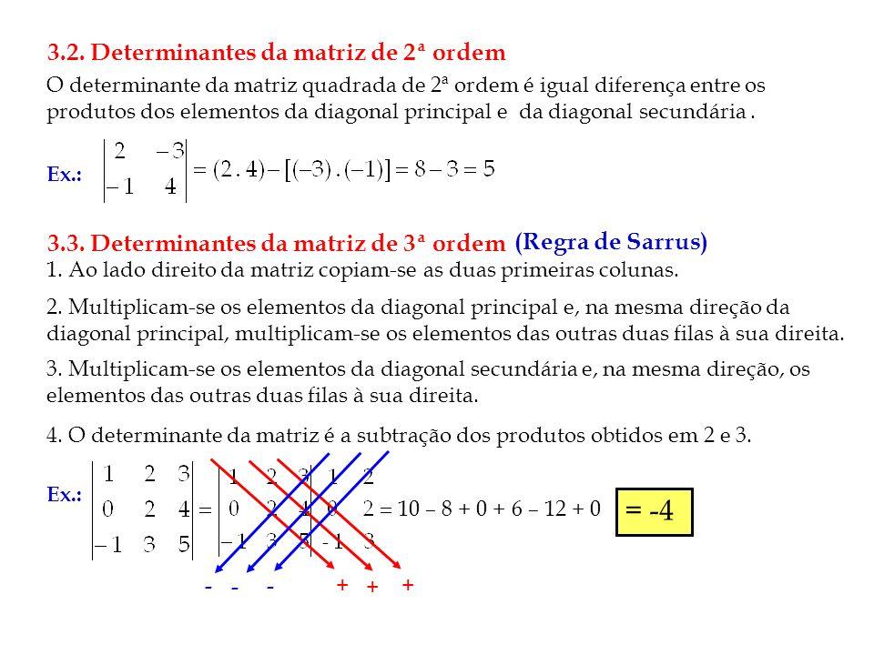 = -4 3.2. Determinantes da matriz de 2ª ordem