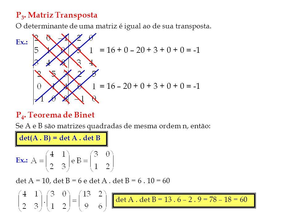 P3. Matriz Transposta = 16 + 0 – 20 + 3 + 0 + 0 = -1