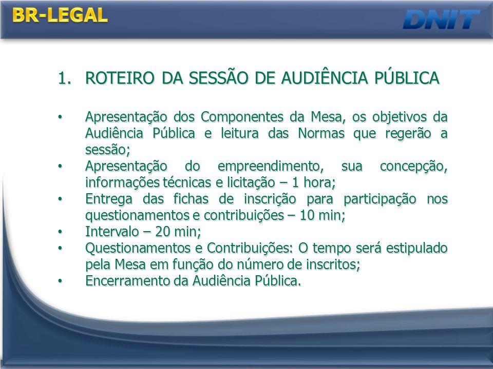 BR-LEGAL ROTEIRO DA SESSÃO DE AUDIÊNCIA PÚBLICA