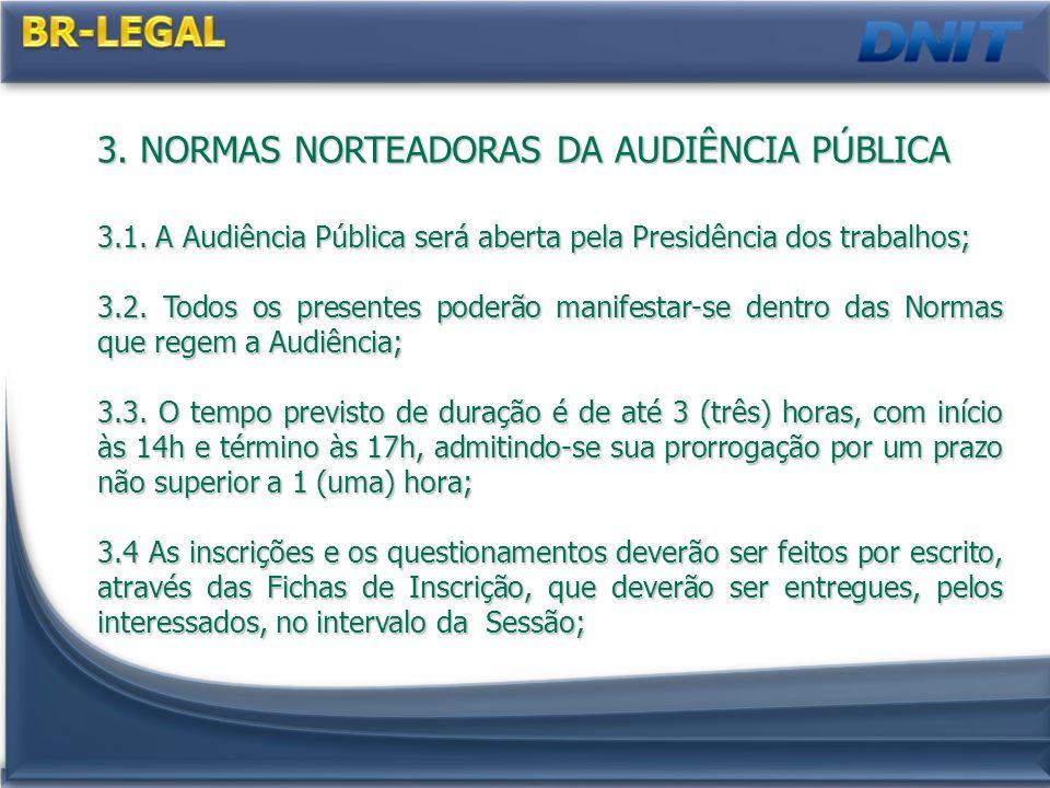 BR-LEGAL 3. NORMAS NORTEADORAS DA AUDIÊNCIA PÚBLICA