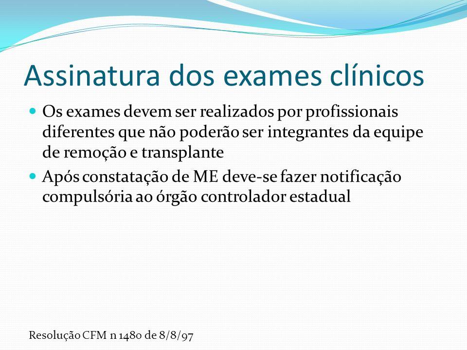 Assinatura dos exames clínicos