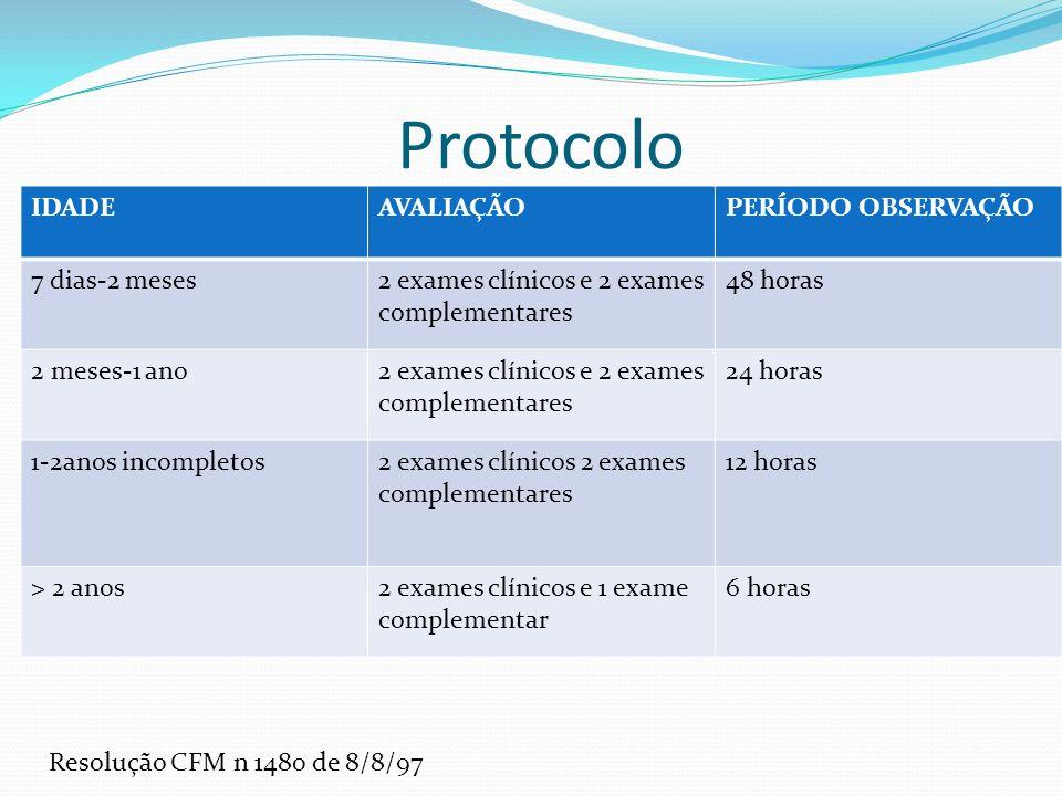 Protocolo IDADE AVALIAÇÃO PERÍODO OBSERVAÇÃO 7 dias-2 meses
