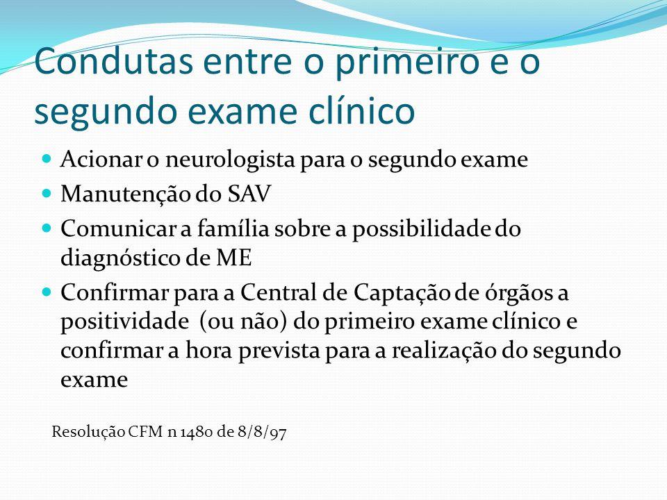 Condutas entre o primeiro e o segundo exame clínico