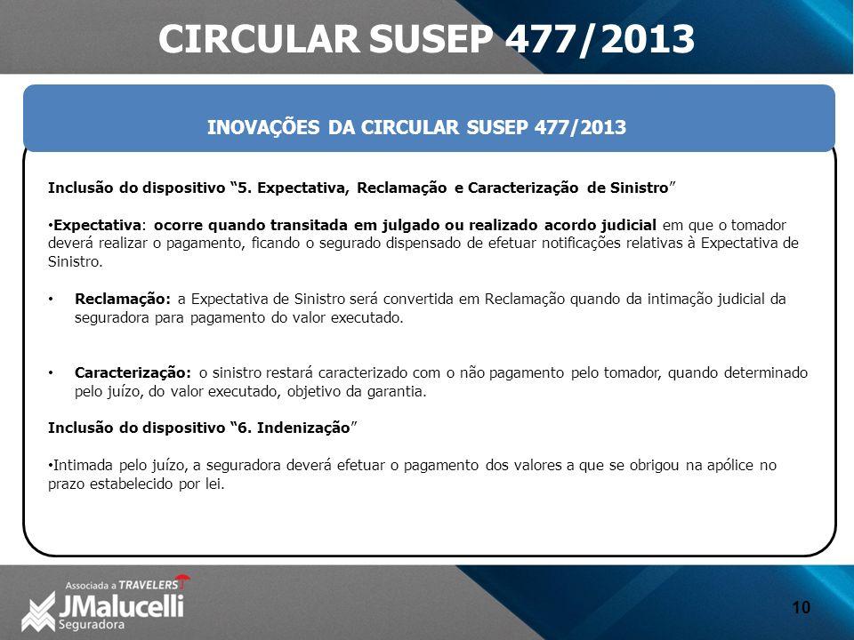 INOVAÇÕES DA CIRCULAR SUSEP 477/2013