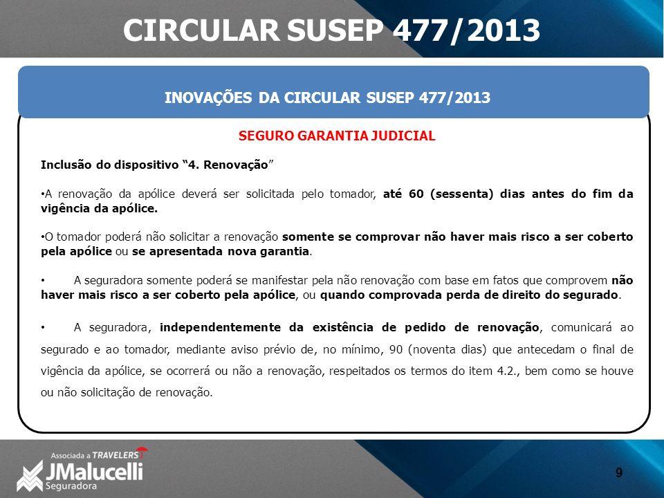 INOVAÇÕES DA CIRCULAR SUSEP 477/2013 SEGURO GARANTIA JUDICIAL