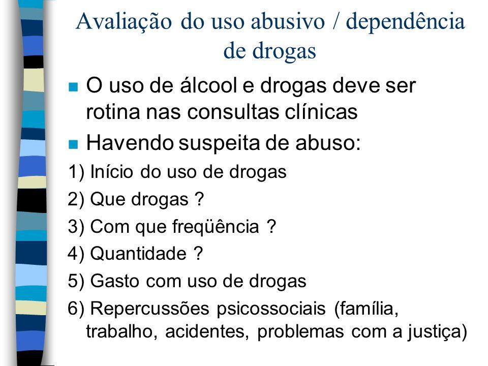 Avaliação do uso abusivo / dependência de drogas