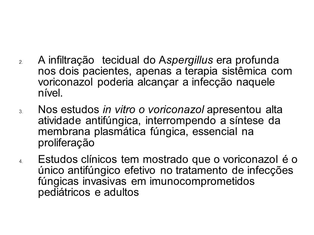A infiltração tecidual do Aspergillus era profunda nos dois pacientes, apenas a terapia sistêmica com voriconazol poderia alcançar a infecção naquele nível.