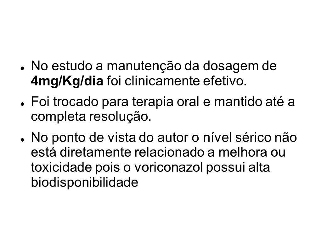 No estudo a manutenção da dosagem de 4mg/Kg/dia foi clinicamente efetivo.