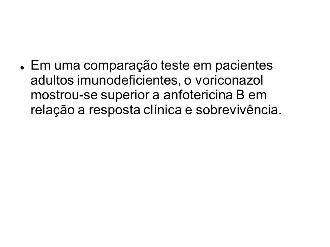 Em uma comparação teste em pacientes adultos imunodeficientes, o voriconazol mostrou-se superior a anfotericina B em relação a resposta clínica e sobrevivência.