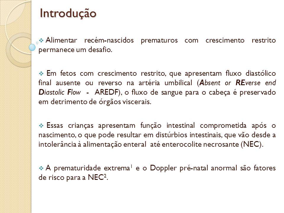 Introdução Alimentar recém-nascidos prematuros com crescimento restrito permanece um desafio.