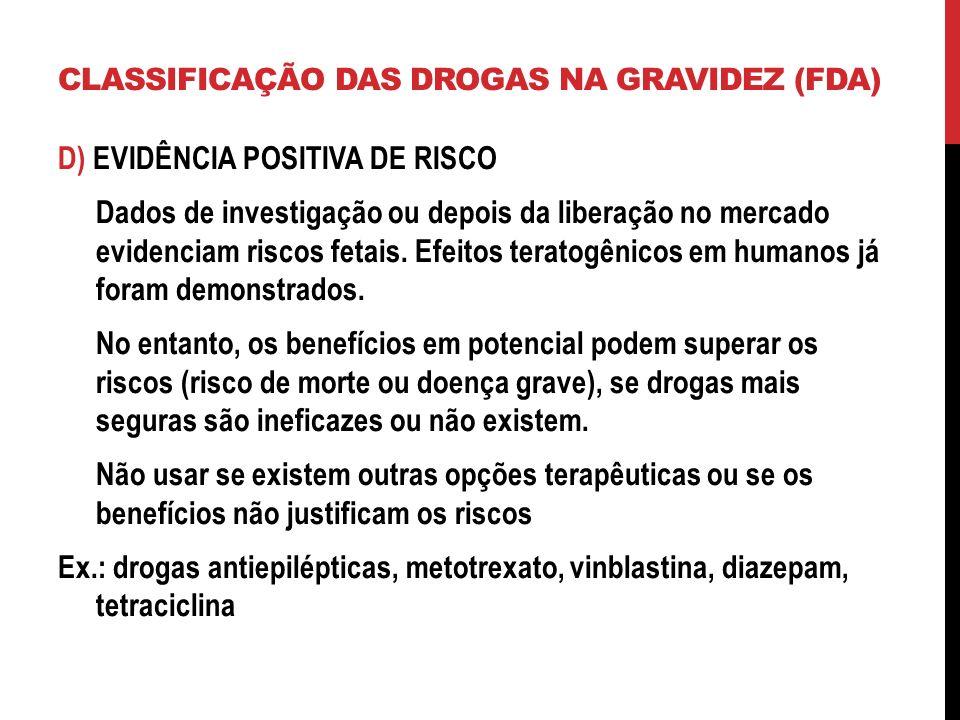 CLASSIFICAÇÃO DAS DROGAS NA GRAVIDEZ (FDA)