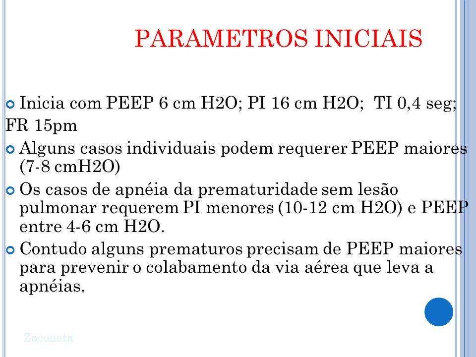 PARAMETROS INICIAIS Inicia com PEEP 6 cm H2O; PI 16 cm H2O; TI 0,4 seg; FR 15pm. Alguns casos individuais podem requerer PEEP maiores (7-8 cmH2O)