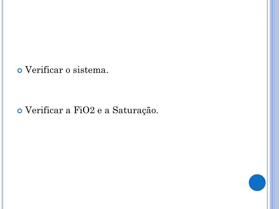 Verificar o sistema. Verificar a FiO2 e a Saturação.