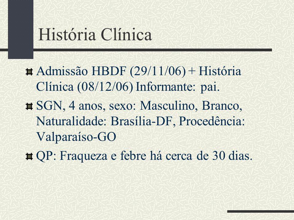 História Clínica Admissão HBDF (29/11/06) + História Clínica (08/12/06) Informante: pai.