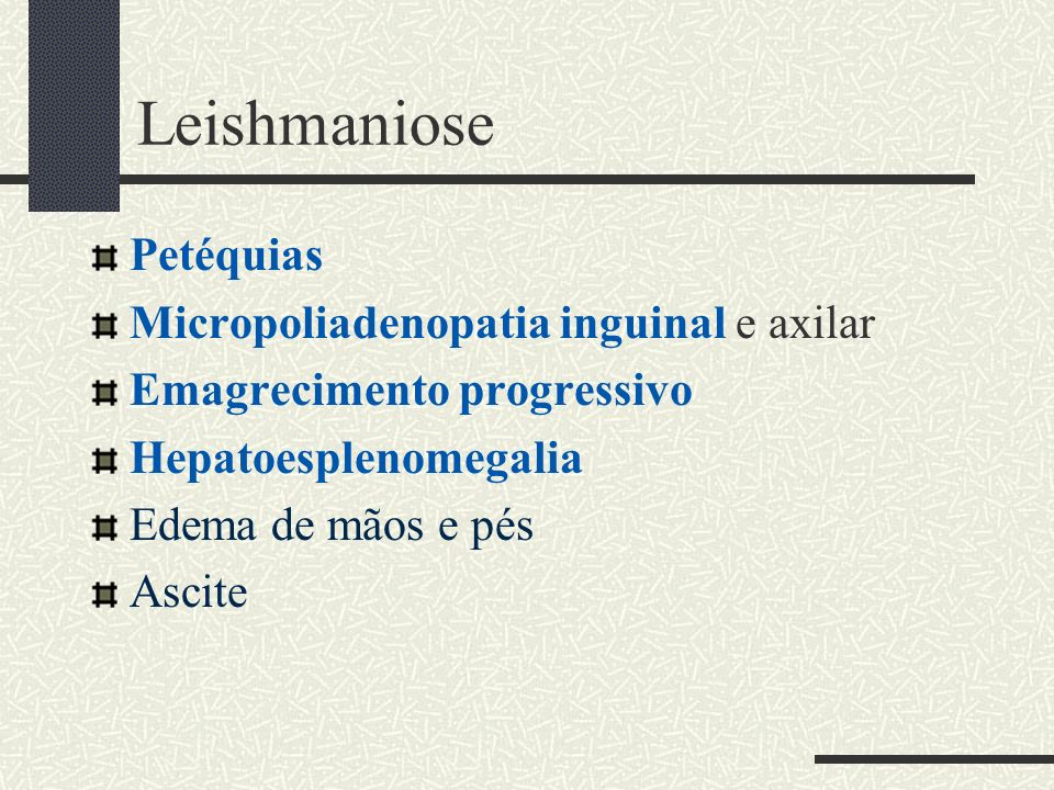 Leishmaniose Petéquias Micropoliadenopatia inguinal e axilar