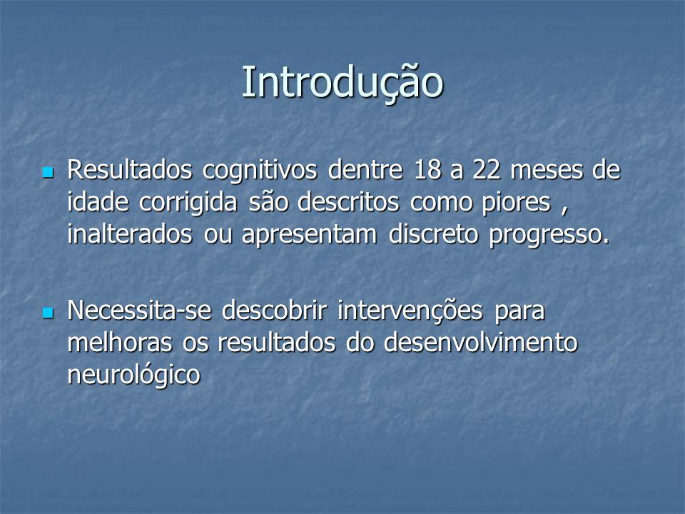 Introdução Resultados cognitivos dentre 18 a 22 meses de idade corrigida são descritos como piores , inalterados ou apresentam discreto progresso.