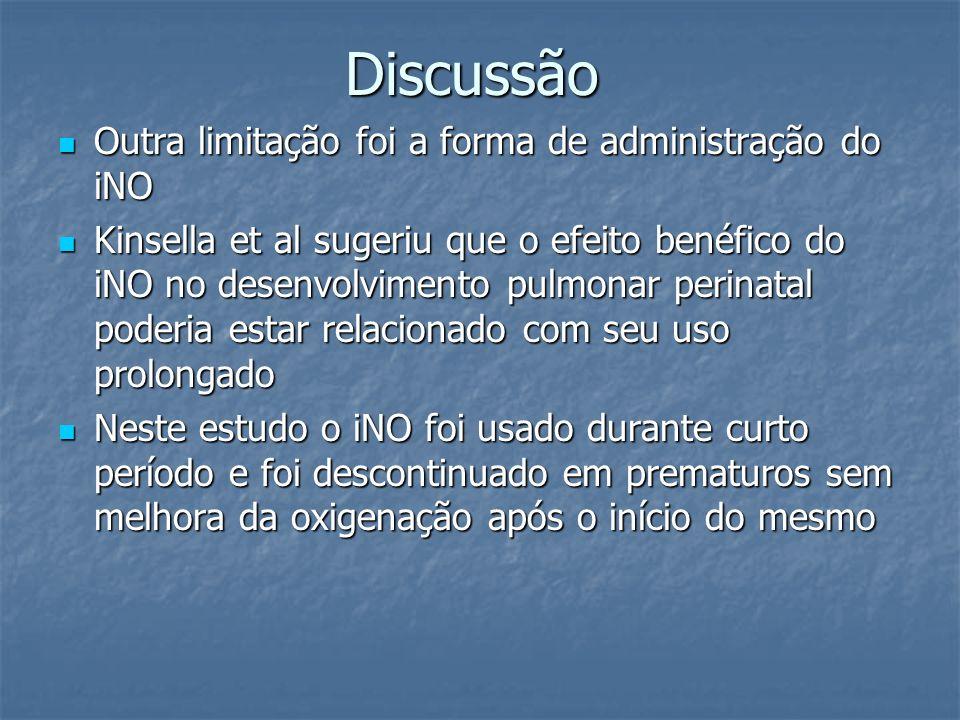 Discussão Outra limitação foi a forma de administração do iNO