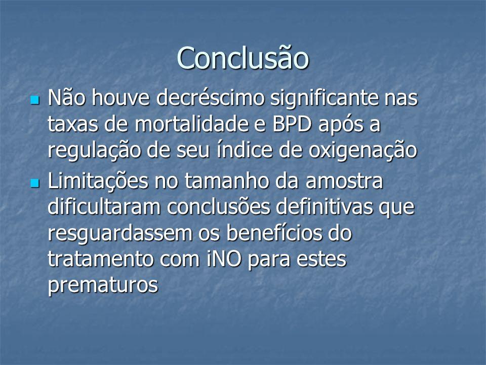 Conclusão Não houve decréscimo significante nas taxas de mortalidade e BPD após a regulação de seu índice de oxigenação.