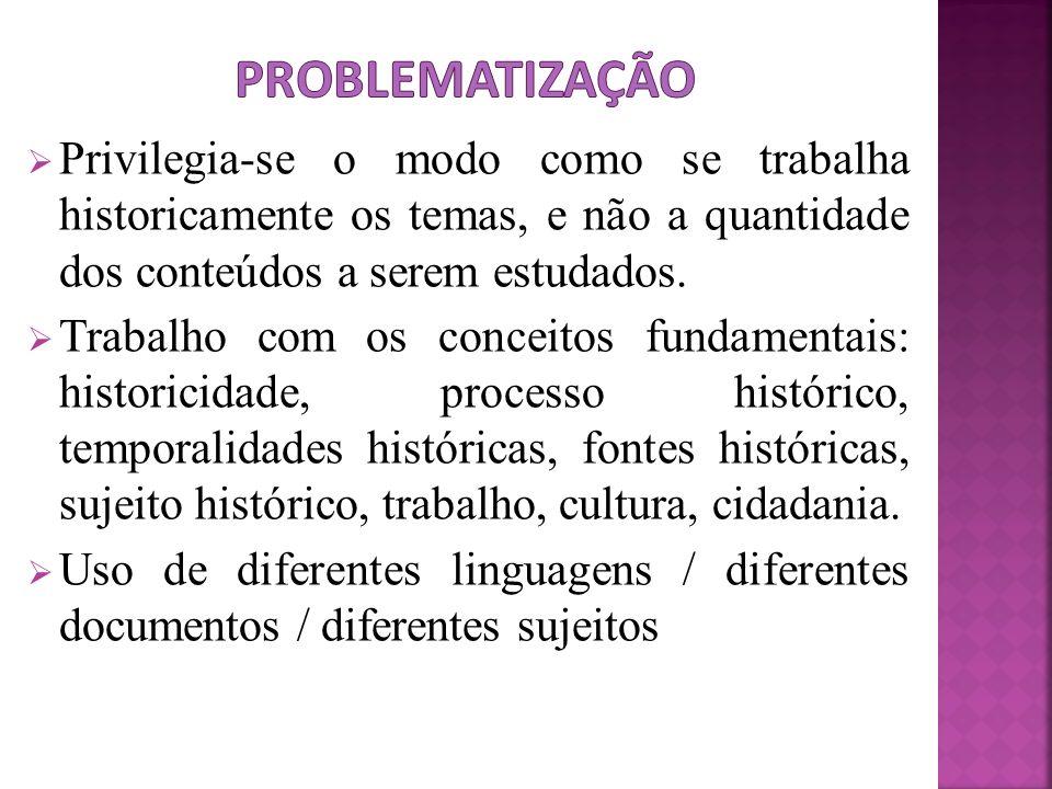Problematização Privilegia-se o modo como se trabalha historicamente os temas, e não a quantidade dos conteúdos a serem estudados.
