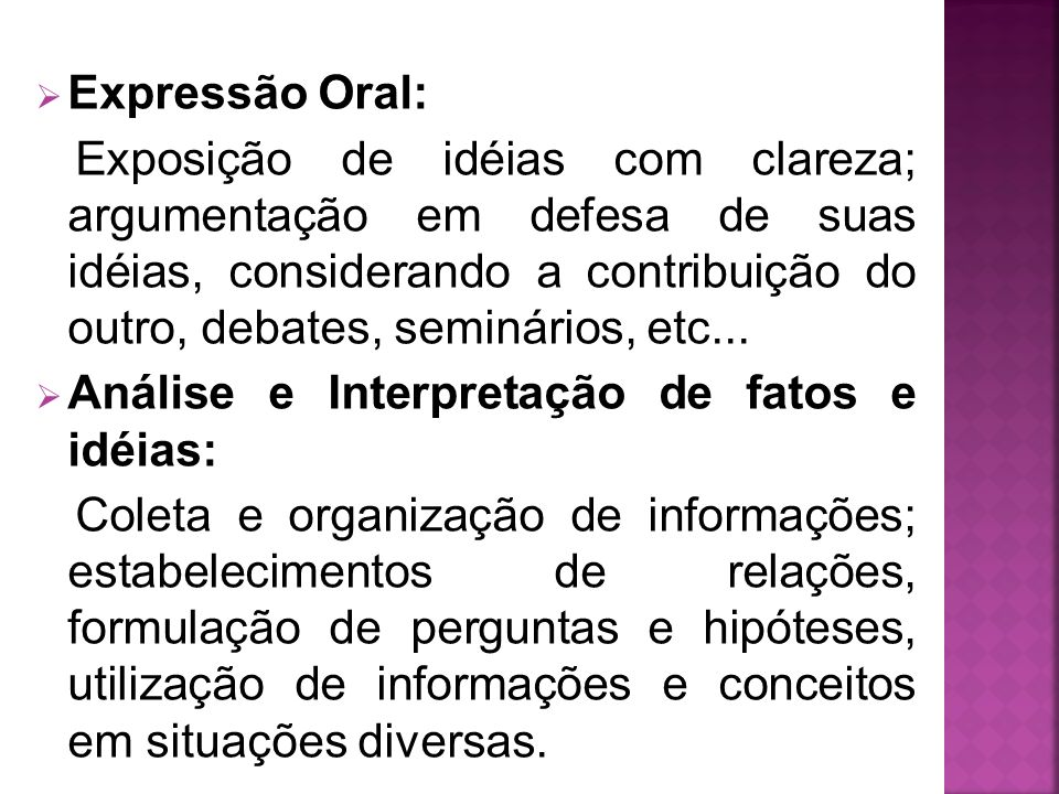 Expressão Oral: