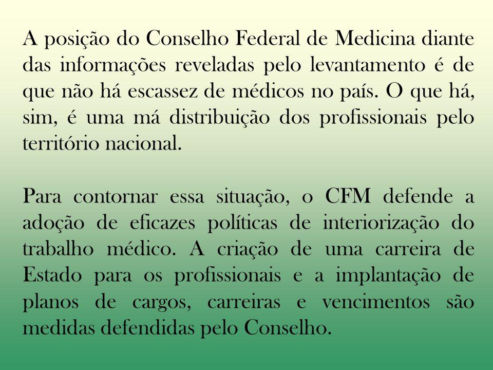 A posição do Conselho Federal de Medicina diante das informações reveladas pelo levantamento é de que não há escassez de médicos no país. O que há, sim, é uma má distribuição dos profissionais pelo território nacional.