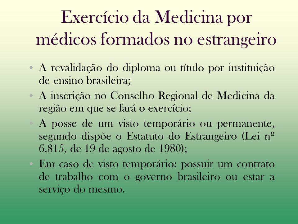 Exercício da Medicina por médicos formados no estrangeiro