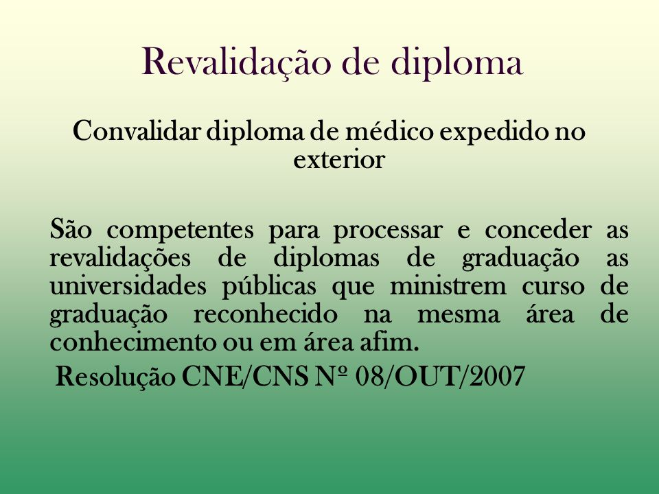 Revalidação de diploma