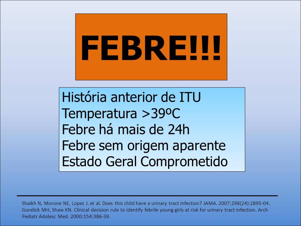 FEBRE!!! História anterior de ITU Temperatura >39ºC