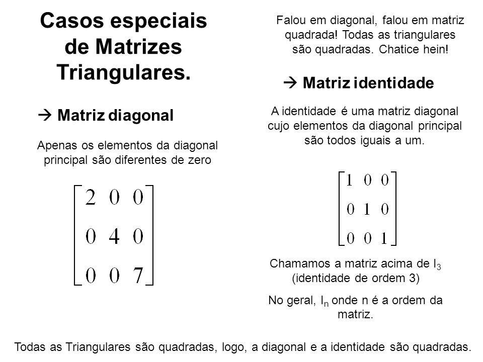 Casos especiais de Matrizes Triangulares.