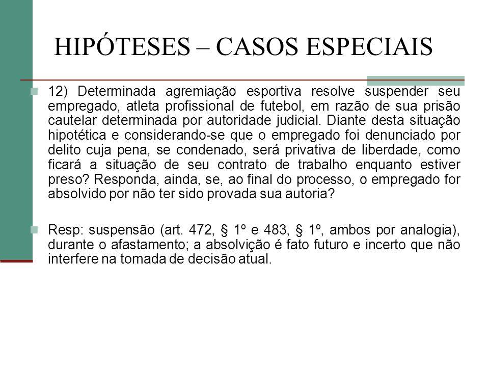 HIPÓTESES – CASOS ESPECIAIS