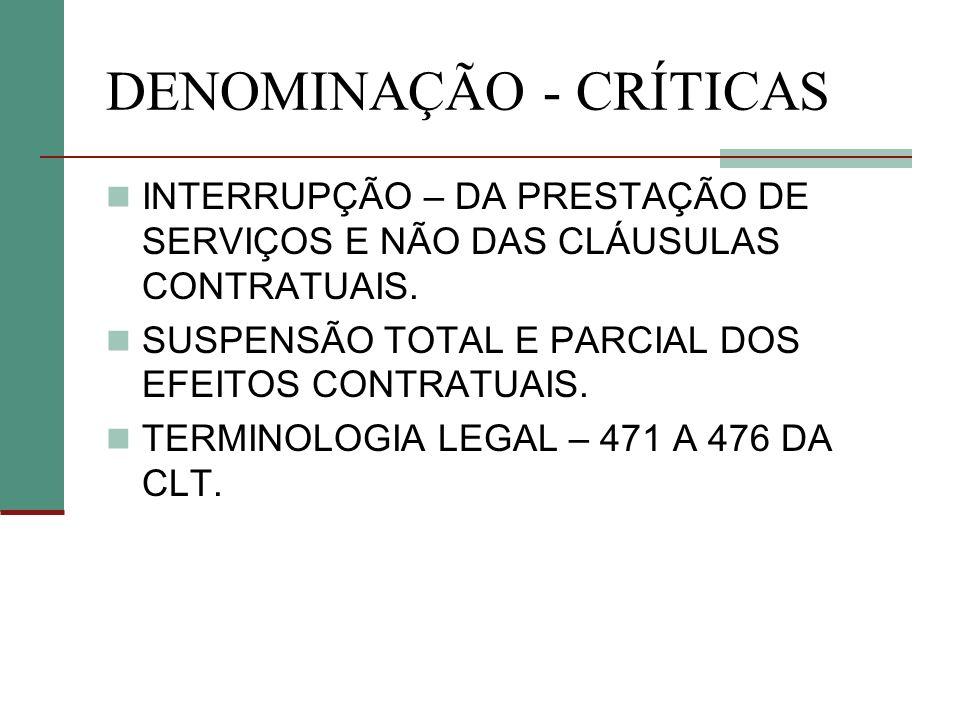 DENOMINAÇÃO - CRÍTICAS
