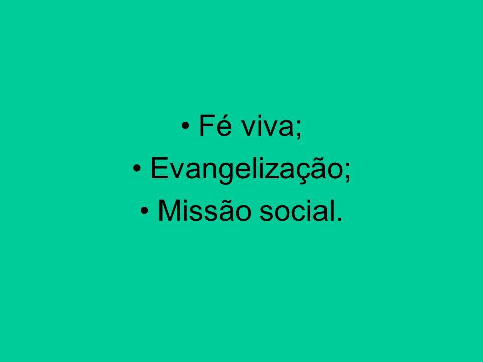 Fé viva; Evangelização; Missão social.