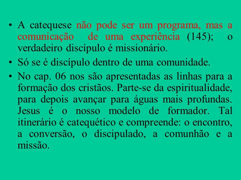 A catequese não pode ser um programa, mas a comunicação de uma experiência (145); o verdadeiro discípulo é missionário.