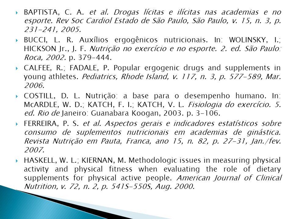 BAPTISTA, C. A. et al. Drogas lícitas e ilícitas nas academias e no esporte. Rev Soc Cardiol Estado de São Paulo, São Paulo, v. 15, n. 3, p. 231-241, 2005.