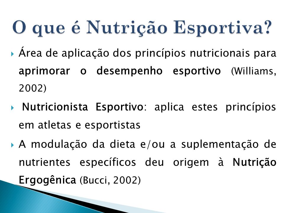 O que é Nutrição Esportiva