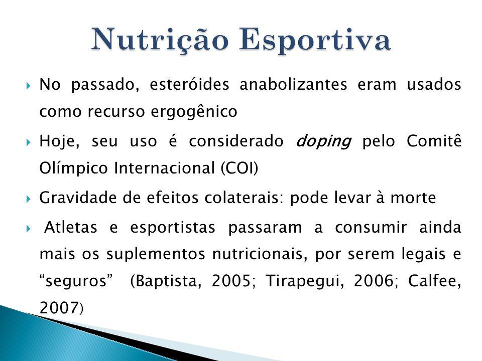 Nutrição Esportiva No passado, esteróides anabolizantes eram usados como recurso ergogênico.