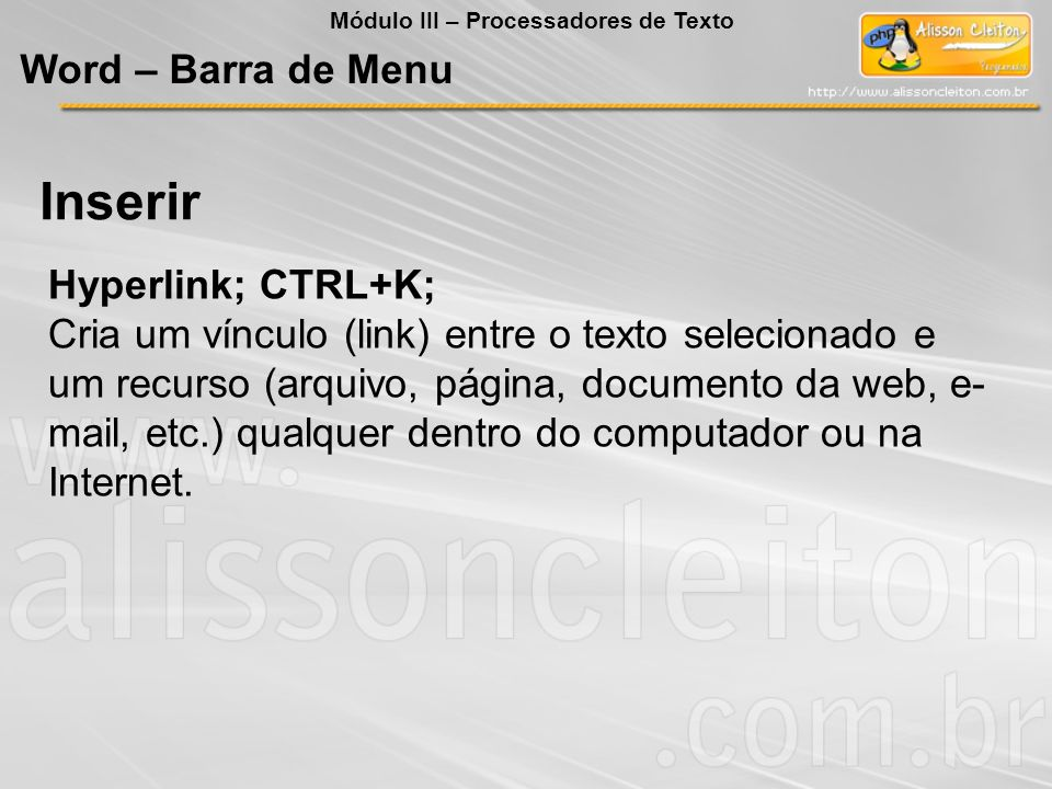 Inserir Word – Barra de Menu Hyperlink; CTRL+K;