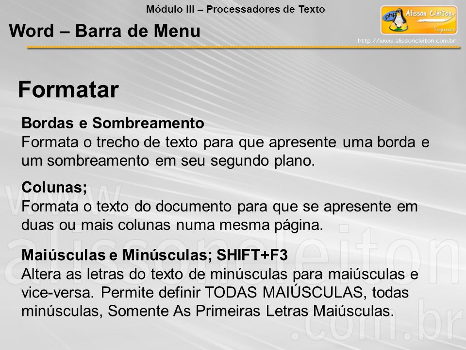 Formatar Word – Barra de Menu Bordas e Sombreamento